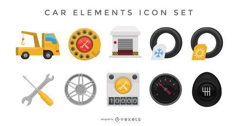 Conjunto de ícones de elementos do carro