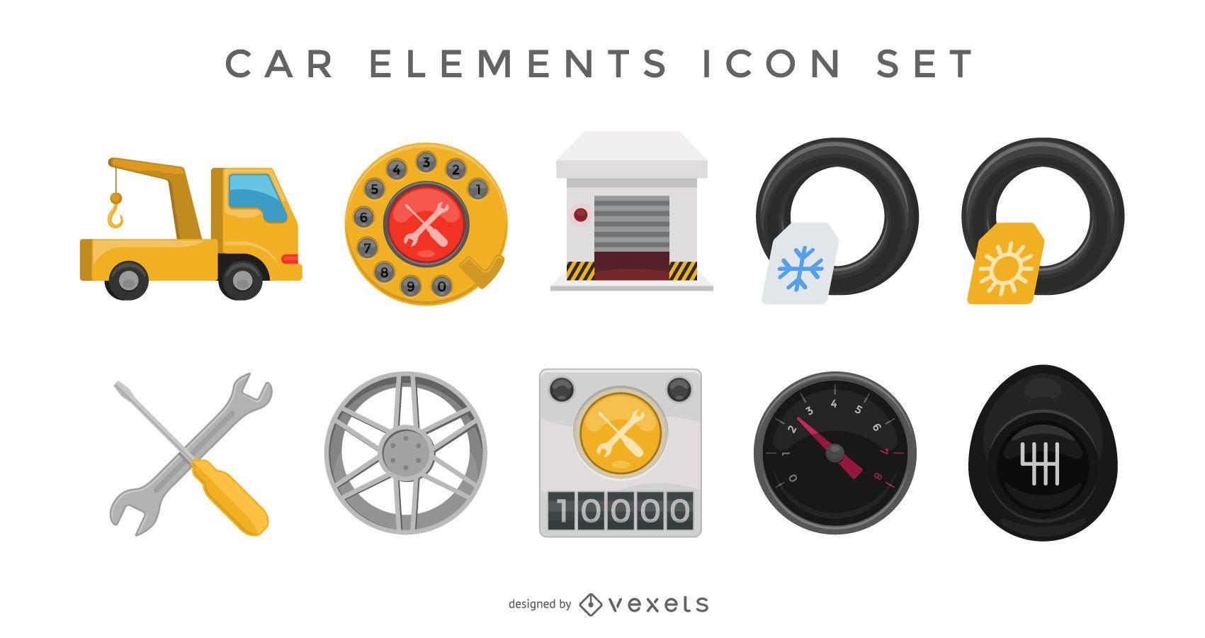 Car elements icon set