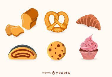 Conjunto de produtos de padaria