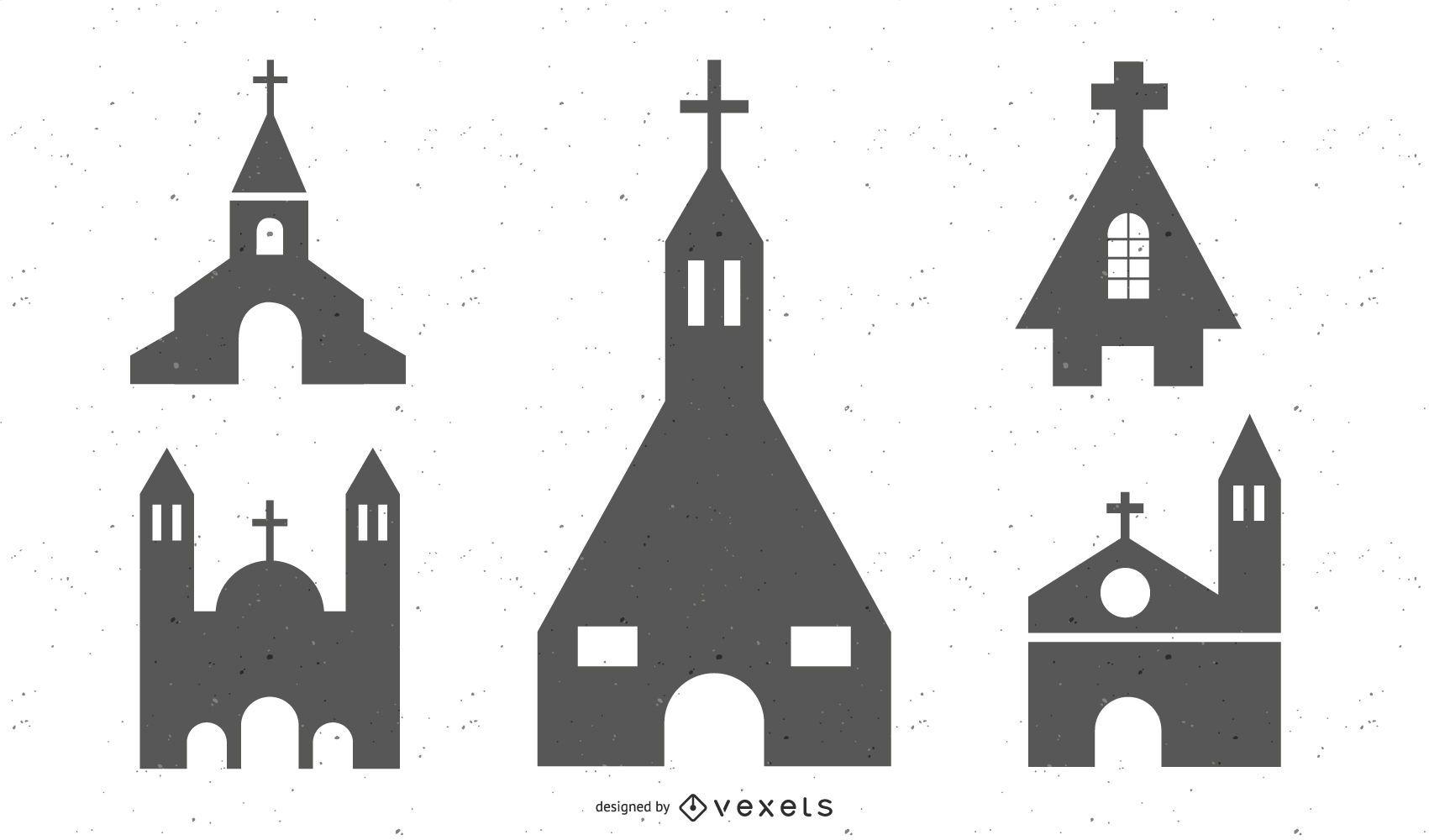 Colección de silueta de iglesia católica