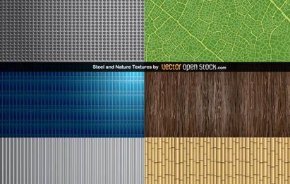 Texturas de aço e natureza