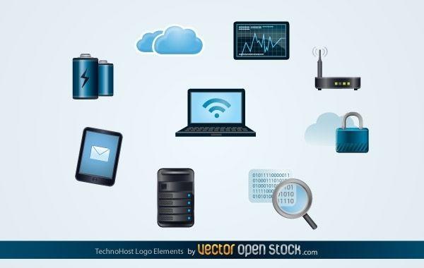 Elementos del logotipo de Techno Host