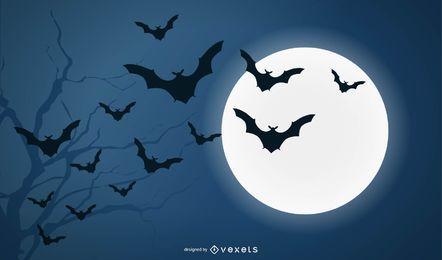 Murciélagos y luna llena