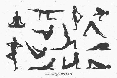 Yoga-Silhoutte-Vektor-Haltungen