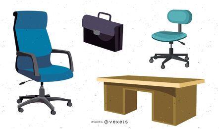 Vectores de muebles de oficina