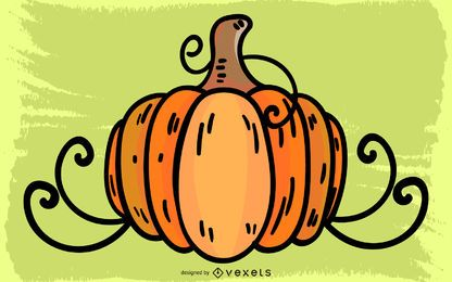Pumpkin With Vines Vector