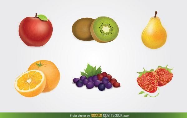 Conjunto de vectores de frutas