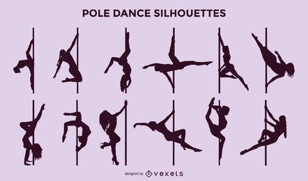 Conjunto de silhueta de dança de pólo de vetor