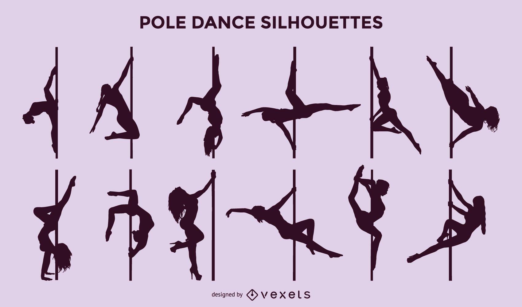 Vector Pole Dance Silhouette Set