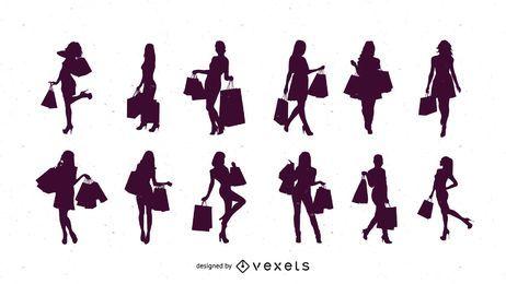 Silueta de compras de las mujeres