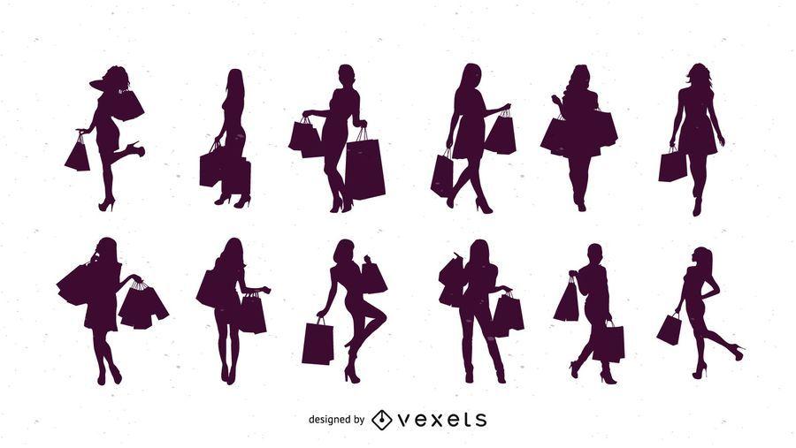 Mulheres de compras de silhueta