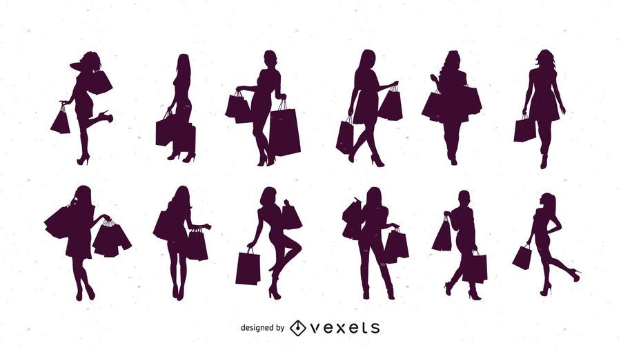 9ba56139d Silhouette Shopping Women - Vector download