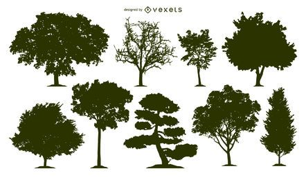 9 tree silhouettes set