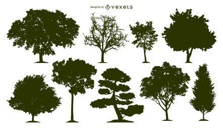 Conjunto de siluetas de 9 árboles
