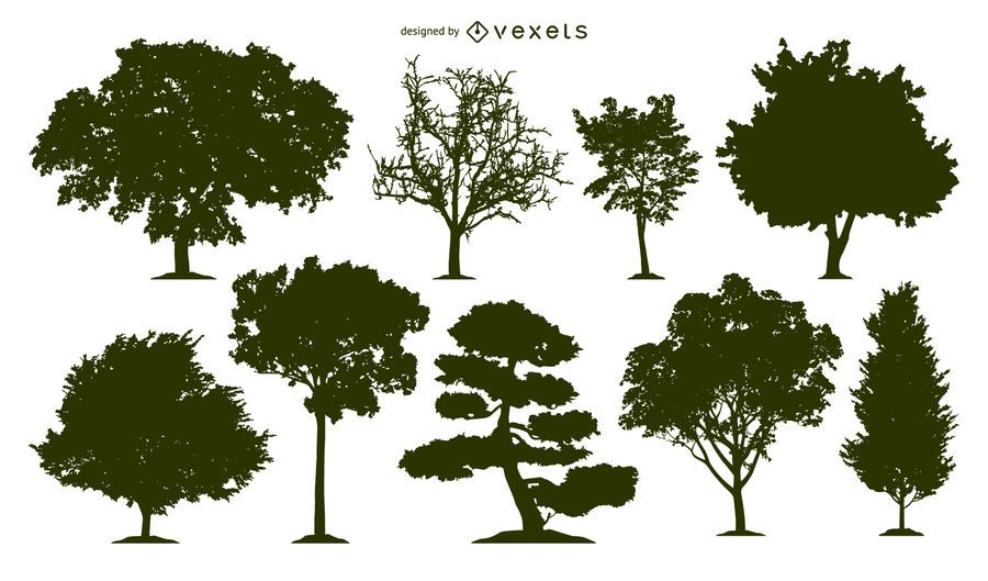 Conjunto de 9 siluetas de arboles