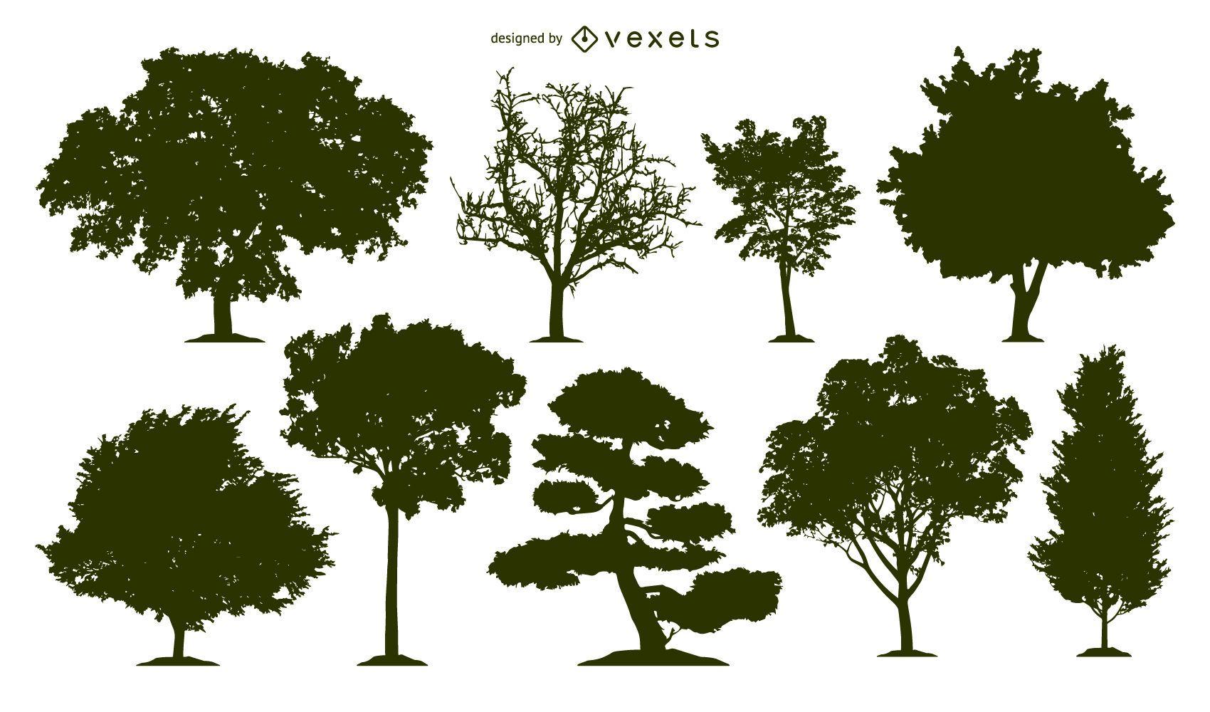 Conjunto de 9 siluetas de árboles