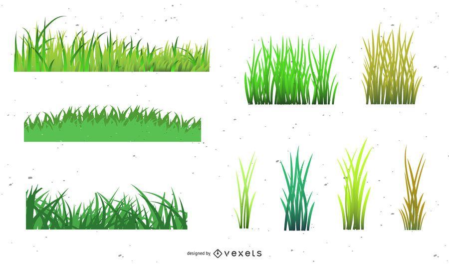 Estilos de grama de vetor