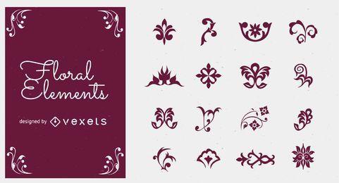 Elementos florales vector