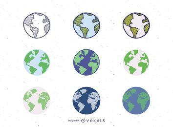 9 Vector Globes Set
