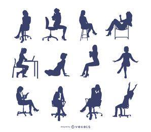 Vector de mujer sentada