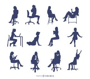 Vetor sentado mulher