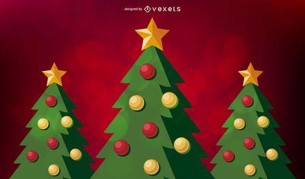 Fondo rojo del árbol de navidad
