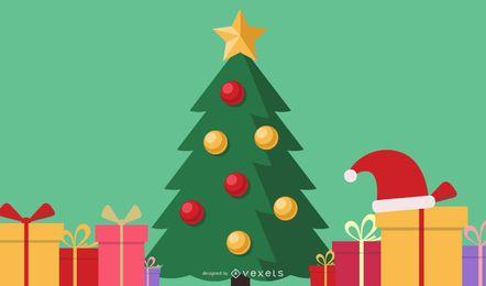 Ilustración de regalos y árboles de Navidad