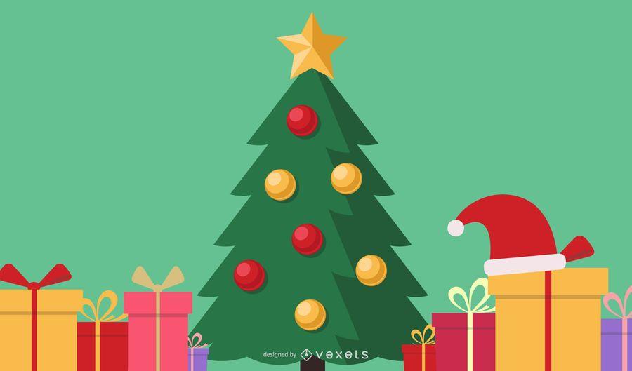 Christmas Tree and Presents Illustration