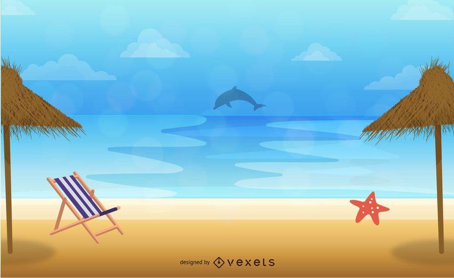 Seaside Resort Illustration