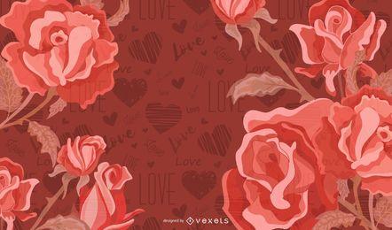 Rose Vector com fundo vermelho