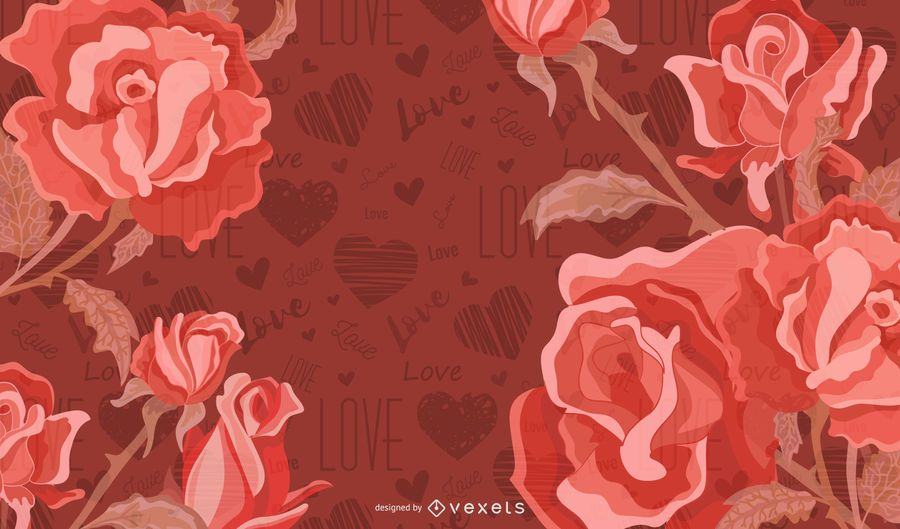Rose Vector with red background