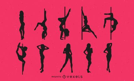 Bailarines de striptease silueta