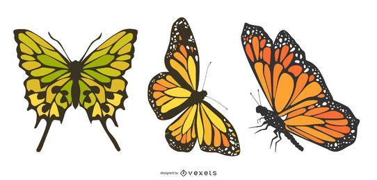 Tres vectores hermosos de la mariposa