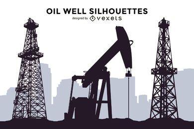 Conjunto de siluetas de pozo de petróleo.