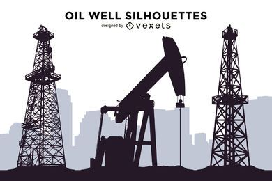 Oil well silhouettes set