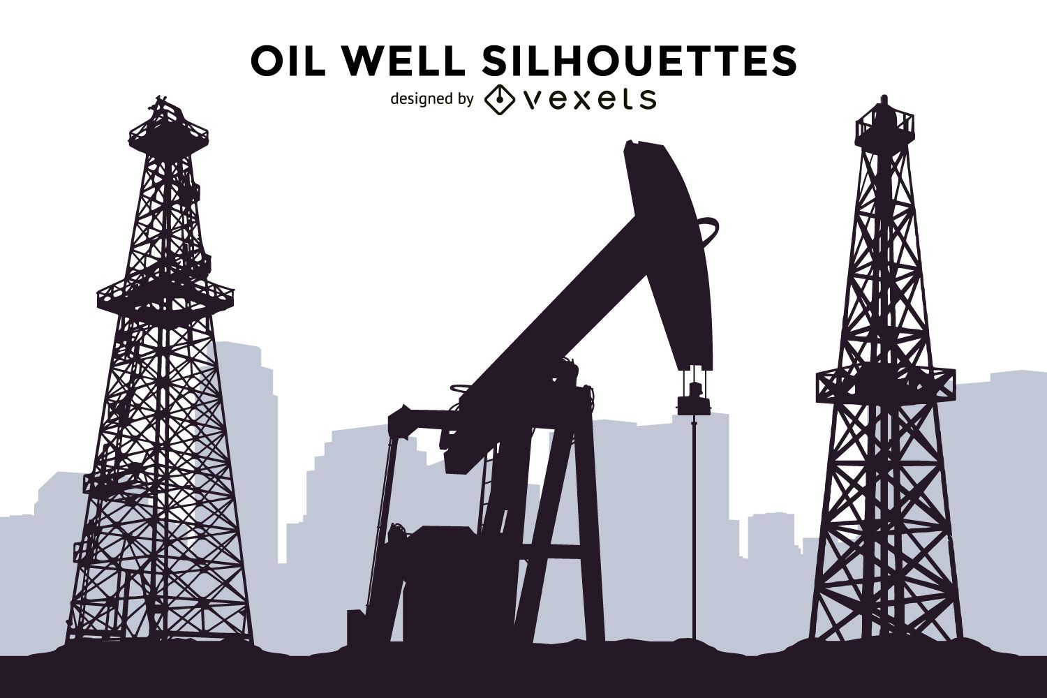 Well Design: Oil Well Silhouettes Set
