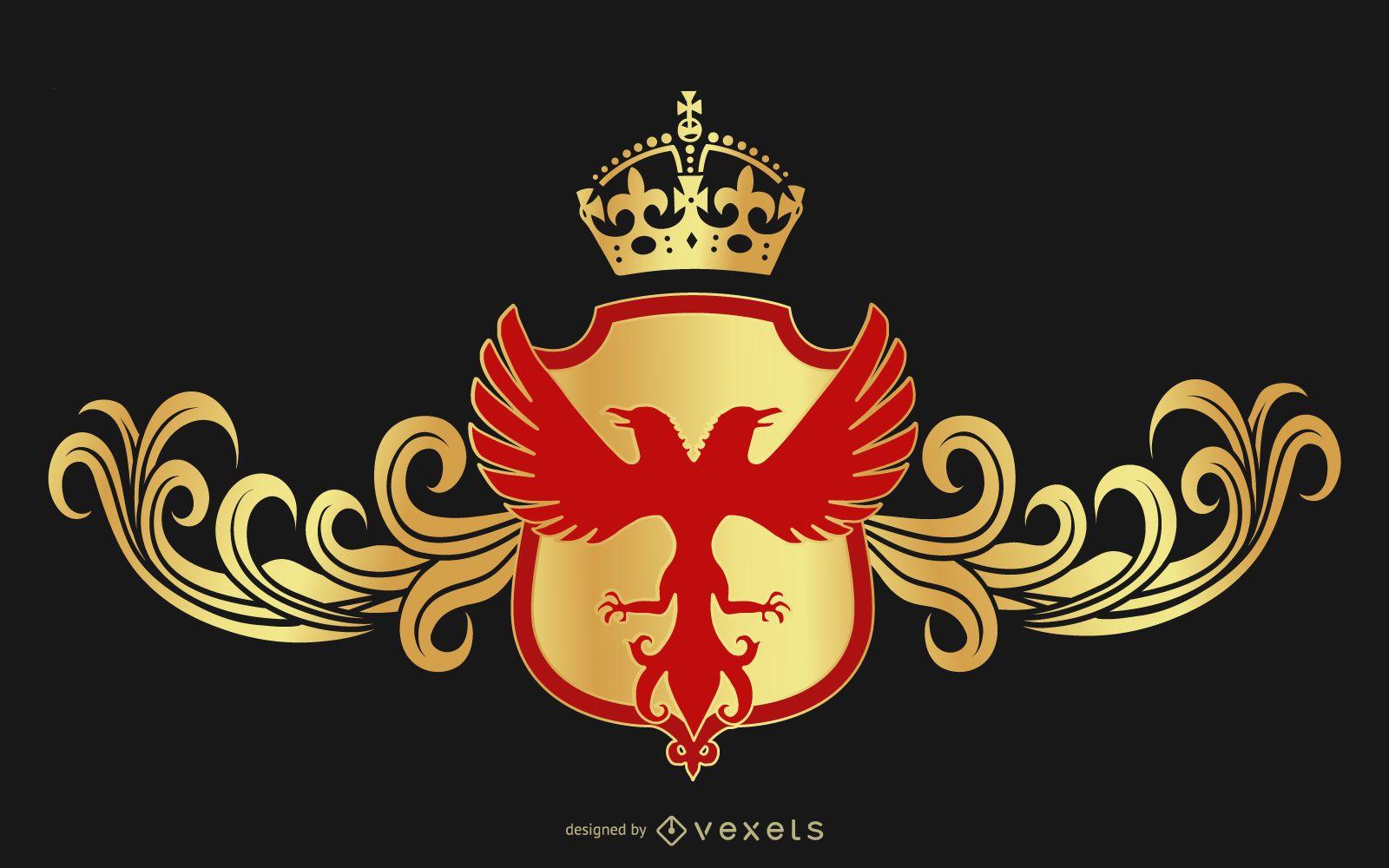 Excelente escudo heráldico vetorial grátis