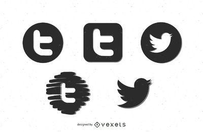 Ícones pretos do Twitter