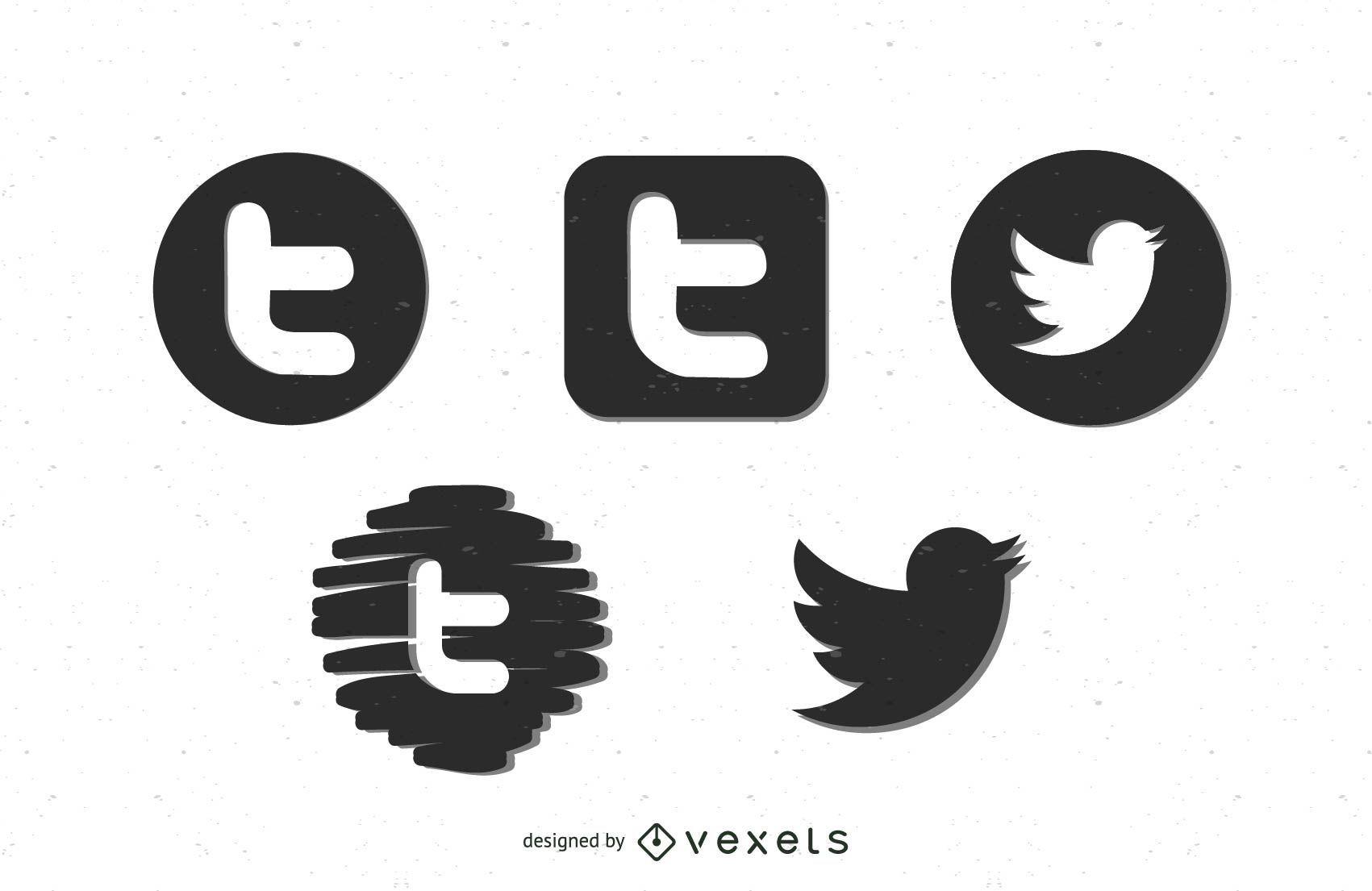Schwarze Twitter-Symbole
