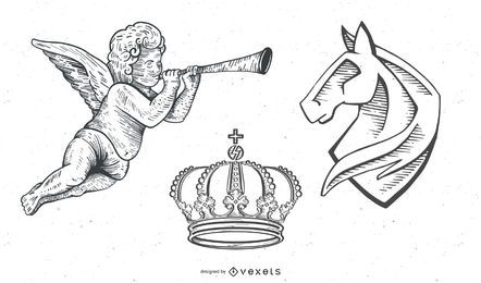 Vintage Vectors: Heraldy/angels/crown