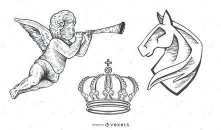 Vintage Vectors: Heraldy / Engel / Krone