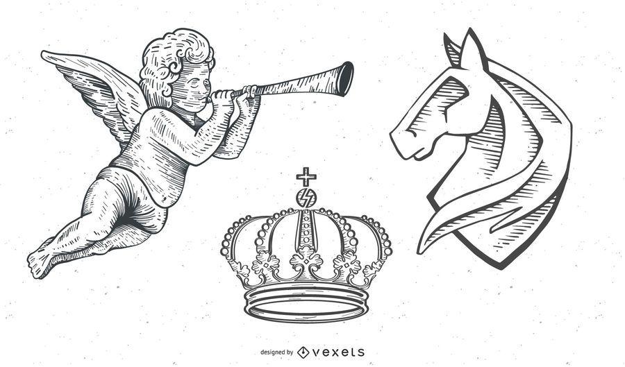 Vectores de época: Heraldy / ángeles / corona