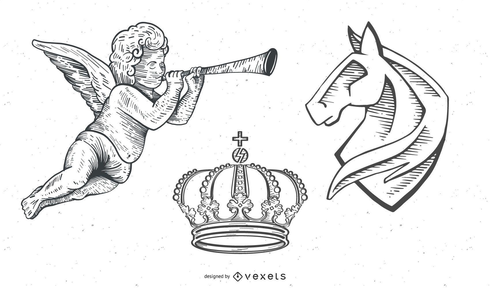 Vectores Vintage: Heráldica / ángeles / corona