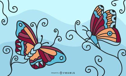 Schmetterling Blumenvektor