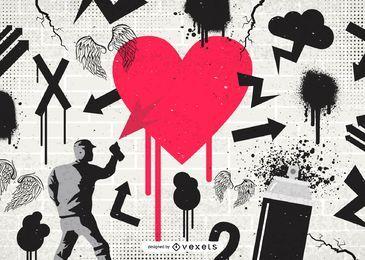 Vectores gratis - Graffiti y otro arte