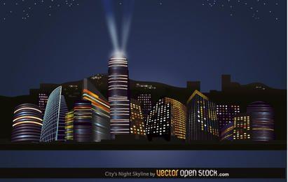 Skyline de las noches de la ciudad