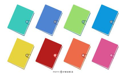 8 Flat Document Folders Vector
