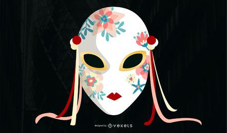 Ilustraciones de máscara asiática