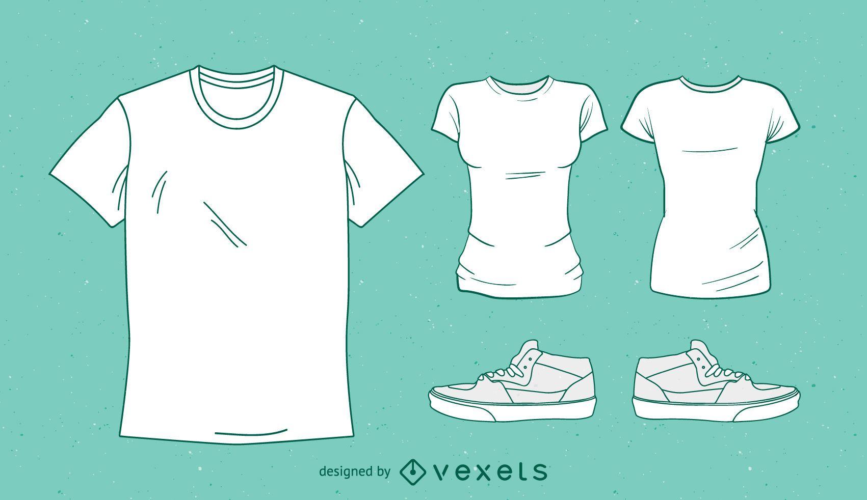 Camisetas e tênis vetoriais