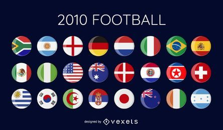 bandeiras de vetor de futebol do mundo copa 2010